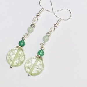 Light Green Quartz Aventurine & Moonstone Earrings